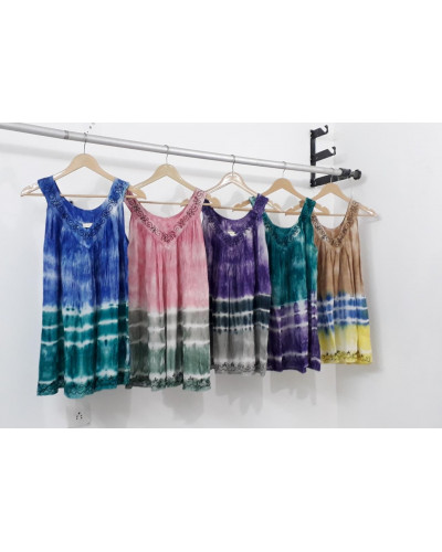 Womens Tie Dye Tunic Summer Casual Retro Top - Lot of 10